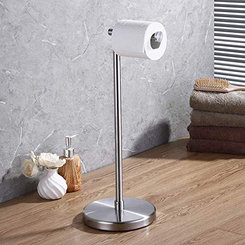 Brass Standing Toilet Tissue Stand - KES Bathroom Toilet Paper Holder Stand Modern Free Standing Tissue Paper Roll Holder SUS304 Stainless Steel, Brushed Finish BPH280S1-2