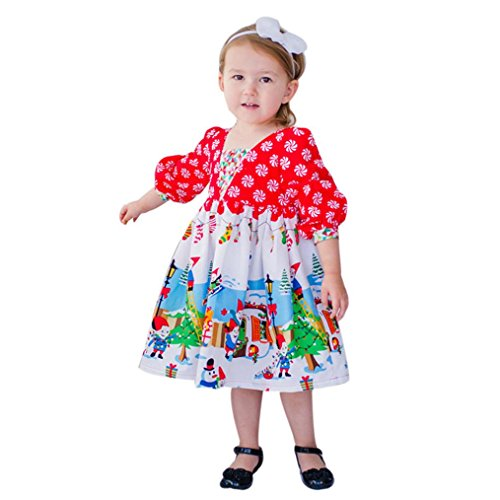 Christmas Girls Party Dress, Keepfit Toddler Kids Baby Princess Printing Outfits Clothes (5T, (Message In A Bottle Halloween Invitations)