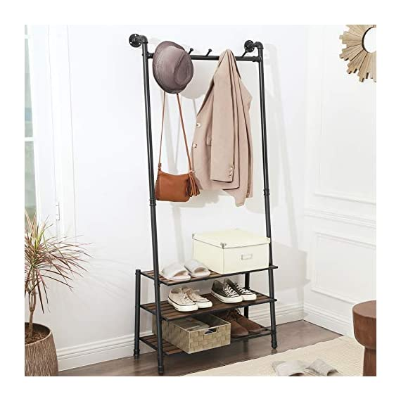 "VASAGLE Coat Rack with Shoe Rack, Industrial Pipe Style Hall Tree, Angled Coat Stand for Hallway Entryway, Standing Against The Wall, Bolt Hooks and Slat Shelves, Stable Metal Frame, Black URCR75BX - INDUSTRIAL STYLE IS IN! Angled black pipes, slat shelves, bolt hooks-a hall tree overflowing with industrial accents makes a unique staple in your hallway while providing a convenient drop-off spot on your way in or out PROP AGAINST THE WALL: A blank wall is all it needs to create an attractive display, and the jackets you throw on it will complete its standout look; prop it against the wall for a stable stand, or attach it to the wall with the included hardware FROM HEAD TO TOE: With a 69.7"" high slanted design tying the whole stand together, it packs plenty of storage without taking too much space, catching hats and coats on the 5 hooks and hosting shoes on the 3 shelves - hall-trees, entryway-furniture-decor, entryway-laundry-room - 516TI1WqTSL. SS570  -"