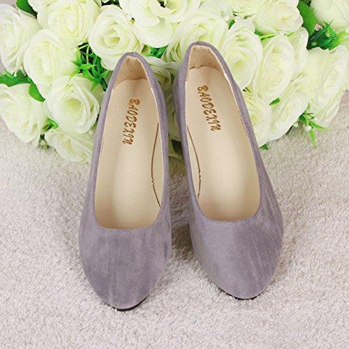 Piel Moda Bailarinas De Gris Y Planos Básicas Sintética Mujer Zapatos Ocio qO7Ftwqzx