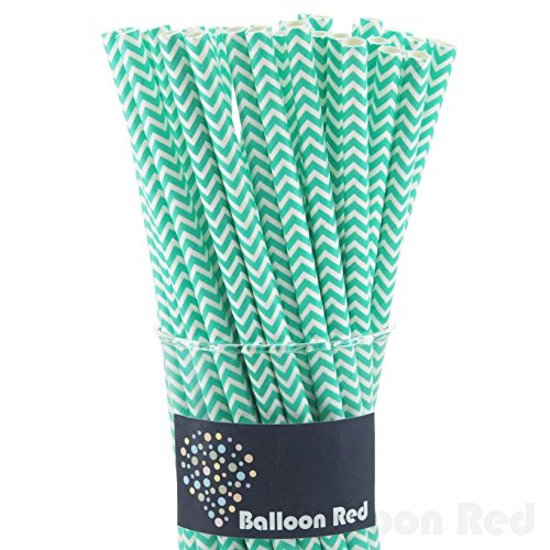Biodegradable Paper Drinking Straws (Premium Quality), Pack of 50, Chervon - Mint (Baby Shower Cake Pops)