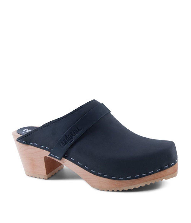 Sandgrens Swedish High Heel Wooden Clog Mules for Women | Black Dublin Square Toe, EU 40