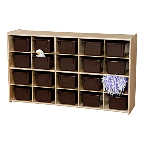Sprogs 20-Tray Wooden Cubby/Storage Unit - Unassembled - Chocolate Trays, SPG-70932 20 Tray Cubby Storage