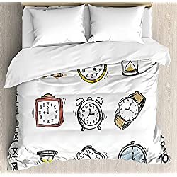 Anzona King Size Clock 3 PCS Duvet Cover Set, A Collection of Vintage Style Watches and Doodled Clocks Hand Drawn Illustration, Bedding Set Bedspread for Children/Teens/Adults/Kids, White and Black