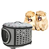 Foldable Soft Sided Pet Carrier,Pet Cage Collapsible Travel Kennel Comfy Breathable Ergonomic Collapsible Dog Bag,for Cats, Small Dogs Puppies & Rabbits (Grey)