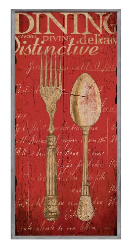 The Stupell Home Decor Collection Decor Collection Vintage Fork Spoon Wall Plaque, Red ()
