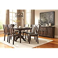 Trudill Casual Wood Dark Brown Color Dining Room Set: Round Extension Table, 6 Dark Brown Chairs
