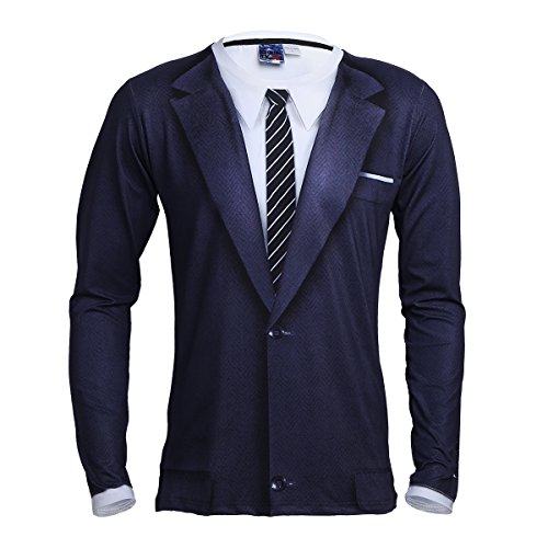 e4392792988 CHICTRY Men s Novelty 3D Printed Tie Tuxedo Long Sleeve T-Shirt Tops White  Small by