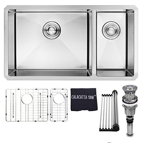"""32"""" x 18"""" Stainless Steel 304 Handmade Double Bowl Undermount 70/30 Kitchen Sink 16 Gauge w/Drain Strainer Grid & Dish Cloth, CS3218"""
