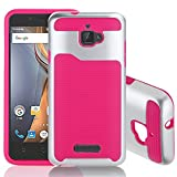 Coolpad Catalyst 3623A Case; Haihood Hard Bumper Hybrid Soft Rubber Skin Case Cover For Coolpad Catalyst 3623A (Hot Pink)
