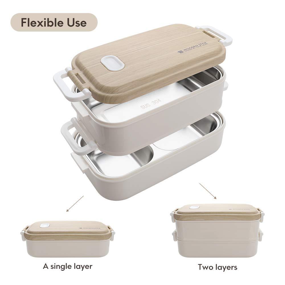 Jelife Bo/îte /à Bento D/éjeuner Deux Etages R/écipient pour Aliments sans BPA R/éutilisable Lunch Box Repas pour Travail Bureau Enfant /École Rose