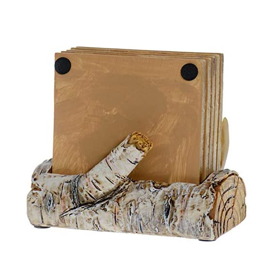 Pine Ridge Home Antler Wood Log Coaster Set with Holder - Bow Hunter Country Absorbent Coaster Decor - Cabin Lodge Home… - PROTECT YOUR FURNITURE: No more drips, puddles, damage, or water stains! The cork on the back of antler drink coasters protects your table from scratches and damage. The cabin coasters also sticks tightly to the countertop and provides good gripping power to prevent the country coasters from slipping off the table. These novelty coasters do not stick to bottom of cups or glasses when lifted. DEER DECORATIONS FOR HOME: With our functional coasters and holder set, you can feel prepared using the best coasters to keep your furniture looking nice for years to come. Use all 5 square drinking cup mats deer coaster set throughout your house, make it easy to leave drinkware on your wooden furniture without harming them. And the real bonus is they look classy and stylish in any home! NON-SKID & NON-SLIP BOTTOM DRINK COASTERS: Cabin decor coasters and coaster holder western has four non-skid padded feet on the bottom to protect table surfaces. Wildlife coaster sets with holder won't slide off your table or scratch your furniture. - living-room-decor, living-room, home-decor - 516TJ0eOI L. SS570  -
