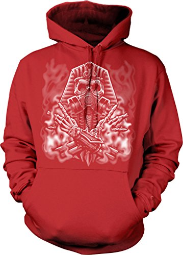 Egyptian Skeleton With Gas Mask Hooded Sweatshirt, NOFO Clothing Co. XL Red
