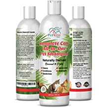 Professional All-in-One Natural Dog Shampoo for Healthy Skin & Coat, Plant Based Pet Shampoo For Dogs & Cats with Sensitive Skin. Cleaner, Deodorizer, Moisturizer, Conditioner & Detangler-Made in USA