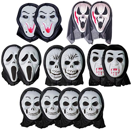 14pcs Halloween Mask Scary Full Face Ghost Witch Devil Vampire Costume -
