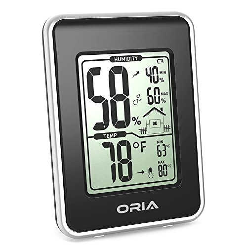 Oria Hygrometer Thermometer, Indoor Digital Weather Station, Hygrothermograph, Multifunctional Temperature and Humidity Monitor with MIN/MAX Records + Large LCD Screen - Black