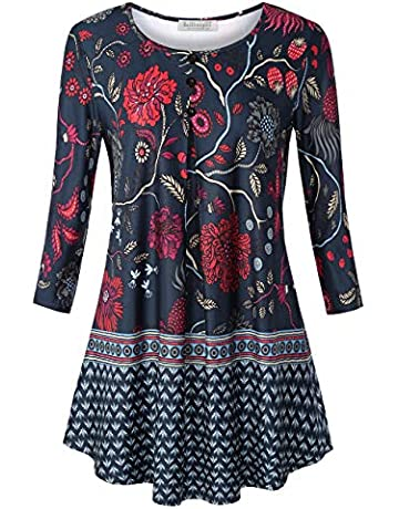 5eaaf523973 BaiShengGT Women's O Neck 3/4 Sleeve Pleated Regular Fit Knit Tunic Top  Blouse