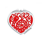 DIYthinker Paper-cut Snake Animal China Zodiac Heart Compact Makeup Mirror Portable Cute Hand Pocket Mirrors Gift