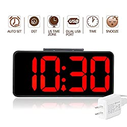 DreamSky Auto Time Set Alarm Clock With Dual USB Port For Phone Charger , Snooze, Dimmer -Extra Large Impaired Vision Digital Red LED Clock With Battery Backup, Auto DST