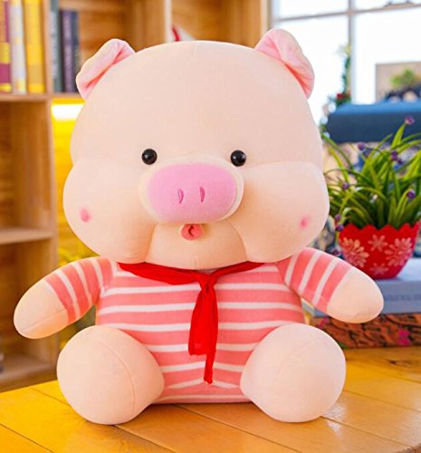 Price comparison product image Interactive Stuffed Toys for Kids Plush Soft Striped Cloth 35cm Pig Toy Plush Pig Doll Home Decoration Kid Gift(Pink)