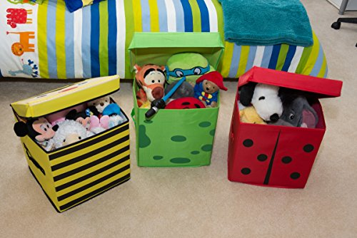 Clever Creations Kid S Cushion Top Bee Collapsible Toy Storage