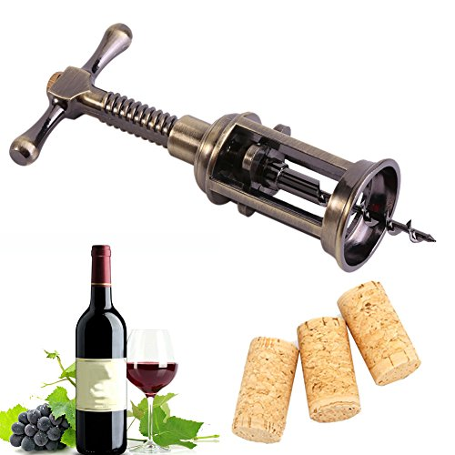 Funnytoday365 Retro Red Bottle Opener Wine Double Hinged Rotary Lever Zinc Alloy Antique Bronze Corkscrew Cork Puller Remover Champagne Opener