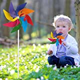 Fucung Rainbow Windmill,Garden Windmills for Kids,Plastic Flower Outdoor Decorations,Kids' Party Toy,Colorful and Creative Pinwheel