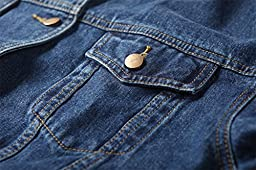 Loose Women Blue Washed Pocket Button Boyfriend Denim Jacket Coat(M-Chest 42.5\'\', Blue)