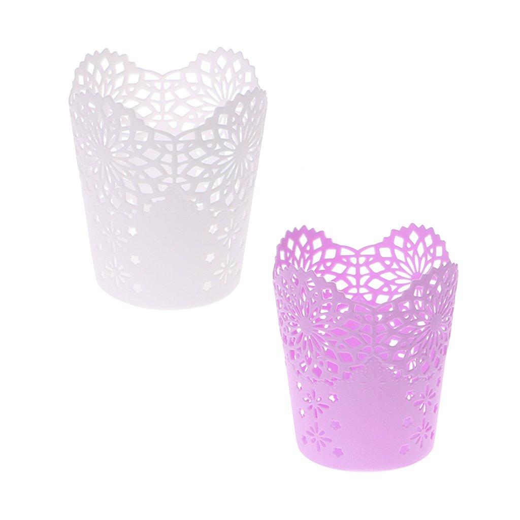 con spazzola a forma di fiore ca NKYSM 7.5x7.5x11.5cm // 2.95x2.95 x4.53 Lilla Portapenne da scrivania