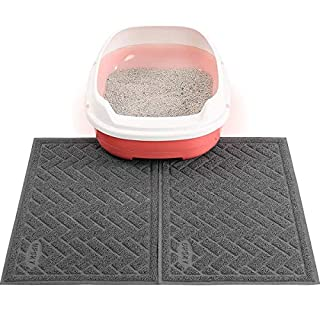 Double Large Cat Litter Mat (24'' x 16'' x 2 Pieces), Premium Traps Litter from Box and Paws, Scatter Control for Litter Box, Soft on Sensitive Kitty Paws, Easy to Clean, (Grey)