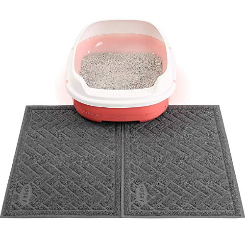 UPSKY Double Large Cat Litter Mat (24'' x 16'' x 2 Pieces), Premium Traps Litter from Box and Paws, Scatter Control for Litter Box, Soft on Sensitive Kitty Paws, Easy to Clean,