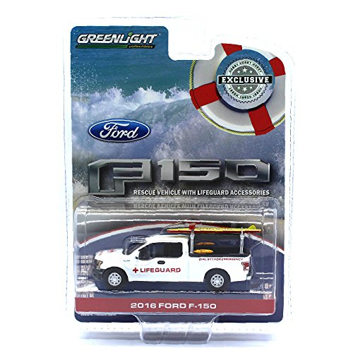 Greenlight 29899 2016 Ford F-150 with Lifeguard Accessories Hobby Exclusive 1/64 Diecast Model Car