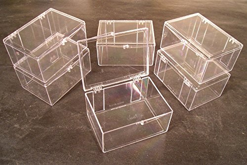Lot of 6 Crystal Clear Hinged Plastic Trading Card Storage Boxes (100-ct) - Made in the U.S.A. (Boxes Trading Card Plastic)