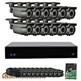 GW Security 16 Channel 4MP DVR 1080P Video Security Camera System – 12 x 1080P Weatherproof 2.8-12mm Varifocal Zoom Bullet Cameras, 64-IR LED 180ft Night Vision, Long Transmit Range (984ft), 4TB HDD For Sale