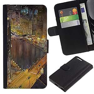 [Neutron-Star] Modelo colorido cuero de la carpeta del tirón del caso cubierta piel Holster Funda protecció Para Apple (5.5 inches!!!) iPhone 6+ Plus / 6S+ Plus [Hong Kong luces de la noche Edificios río]