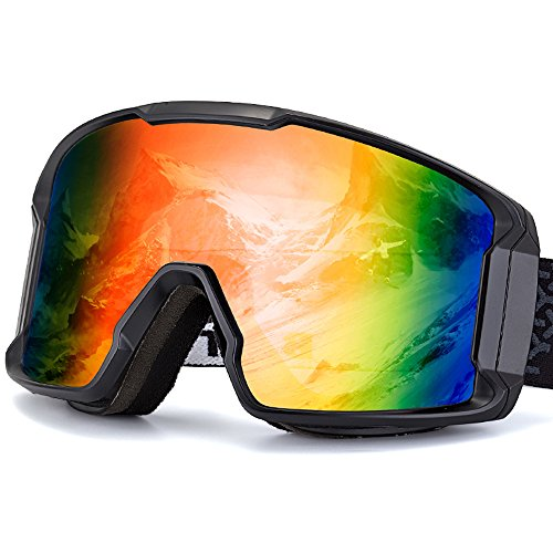 BATFOX Ski Goggles Safe Glasses Anti-fog REVO PC Lens Snow Skiing Snowboard Goggles Shatterproof Over Glasses for Men Women Youth 100% UV Protection - Prescription Glasses Youth