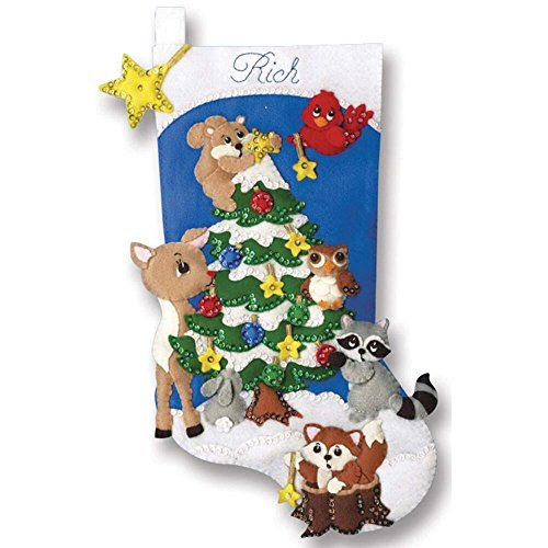 Design Works Felt Applique Kit 18 in Stocking ~ WOODLAND FRIENDS #5250