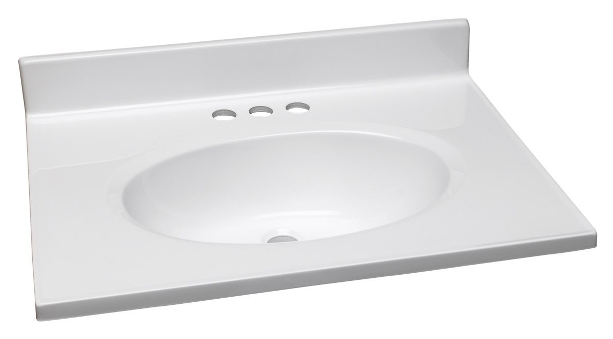 Design House 551267 25-Inch by 19-Inch Marble Vanity Top/Single Bowl, Solid  White