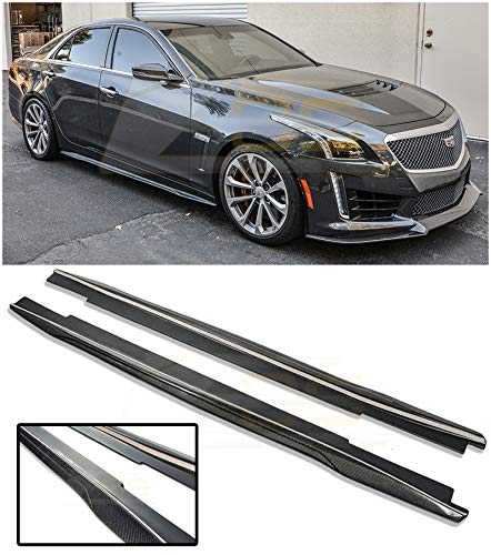 EOS Carbon Package Style Carbon Fiber Side Skirts Rocker Panel Extensions Replacement 2016-Present Cadillac CTS-V