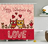 Owl Shower Curtain Valentines Day Shower Curtain Set by Ambesonne, Owls in Love Print Cute Partners Couples Bohemian Style Hearts Flowers Dots, Fabric Bathroom Decor with Hooks, 70 Inches, Pink Red Yellow