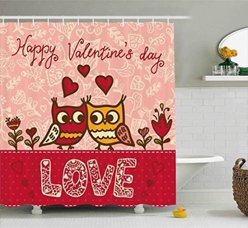 Ambesonne Valentines Day Shower Curtain Set, Owls in Love Pr