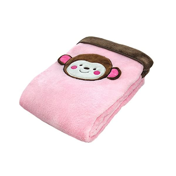 Cozy Fleece Baby/Toddler Blanket with Monkey Face, Pink