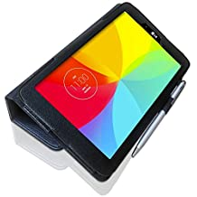 LG G Pad 8.0 (8.0 inch) Custom Made Multi-Angle 'Pen' Case with Stand Function and 2 in 1 Stylus / Biro Pen by LuvTab® (BLACK)