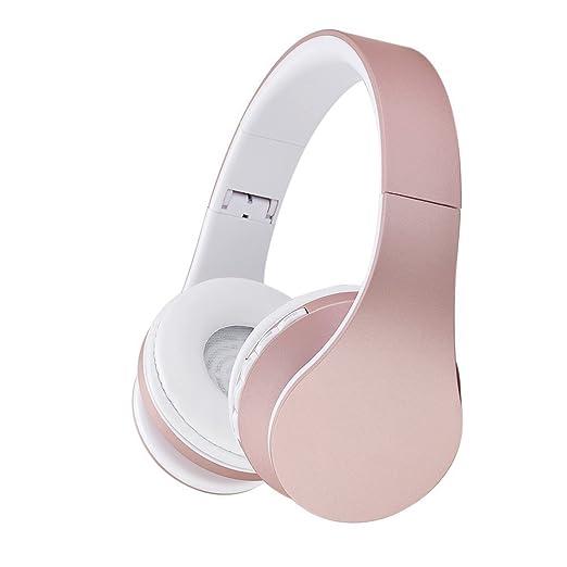 EONSMN Auriculares Plegables Inalambricos Bluetooth con soporte para Tarjeta MicroSD, Radio FM, Microfono para Manos Libres (Rose Gold)