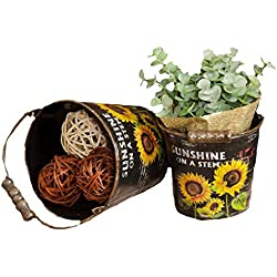 Your Heart's Delight Sunflowers Round Buckets with Handle, 5 by 4-1/4-Inch