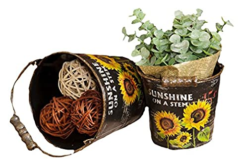 Your Hearts Delight Sunflowers Round Buckets with Handle, 5 by 4-1/4-Inch