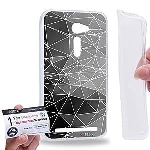 "Case88 [Asus Zenfone 2 5.0"" ZE500CL] Gel TPU Carcasa/Funda & Tarjeta de garantía - Art Fashion Black and Grey Geometric Kaleidoscope"