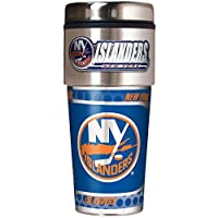 NHL Metallic Travel Tumbler, Stainless Steel and Black Vinyl, 16-Ounce