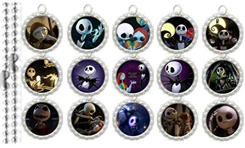 15 Nightmare Before Christmas Silver Bottle Cap Pendant Necklaces Set 4 - Bottle Cap Pendants Set