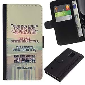"""JackGot ( Marcel Pagnol - Mensaje Profundo"""" ) Samsung Galaxy Note 4 IV la tarjeta de Crédito Slots PU Funda de cuero Monedero caso cubierta de piel"""